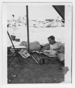 Primary view of object titled '[Lieutenant Adams in a Tent]'.