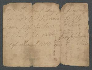 Primary view of object titled '[Promissory note for Thomas Love]'.