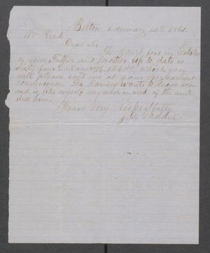Primary view of object titled '[Letter from J.C. Caddel to William Reed]'.