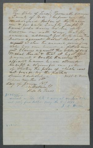 Primary view of [Affidavit for Joseph B. Harris against the estate of Michael Reed]