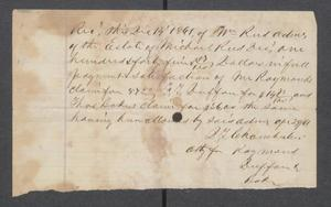 Primary view of object titled '[Receipt of payment from William Reed]'.