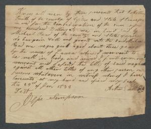 [Bill of sale for a slave girl named Laura]