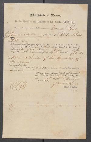 Primary view of object titled '[William Reed court summons]'.