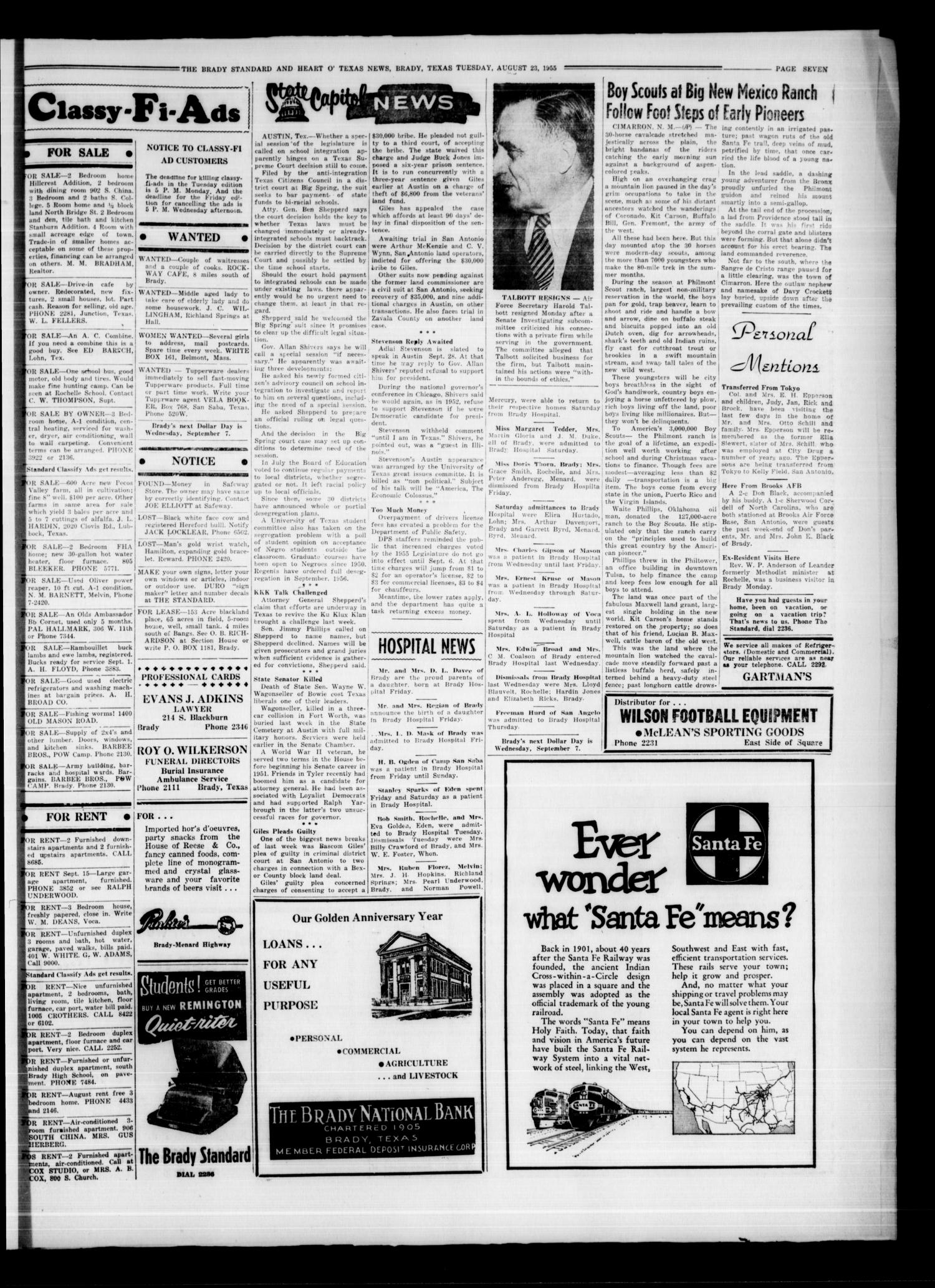 The Brady Standard and Heart O' Texas News (Brady, Tex.), Vol. 47, No. 43, Ed. 1 Tuesday, August 23, 1955                                                                                                      [Sequence #]: 7 of 8