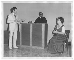 "Primary view of object titled 'Scene from the Play ""The Heavenly Case of The Bicentennial-America On Trial""'."