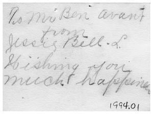Primary view of object titled '[Handwritten Card to Ben Avant]'.