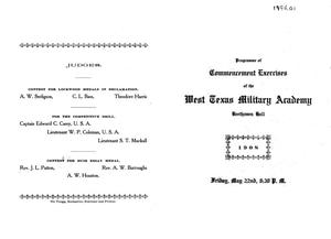 Primary view of object titled '[Programme of Commencement Exercises, West Texas Military Academy, 1908]'.