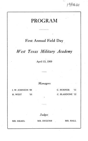 Primary view of object titled '[Program of First Annual Field Day, West Texas Military Academy, 1909]'.
