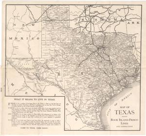 Primary view of object titled 'Map of Texas Showing Rock Island-Frisco Lones and Connections'.