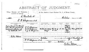 Abstract of Judgement, 1892, Bexar County