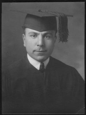 Primary view of object titled '[A young man wearing a graduation gown with cap and tassel]'.