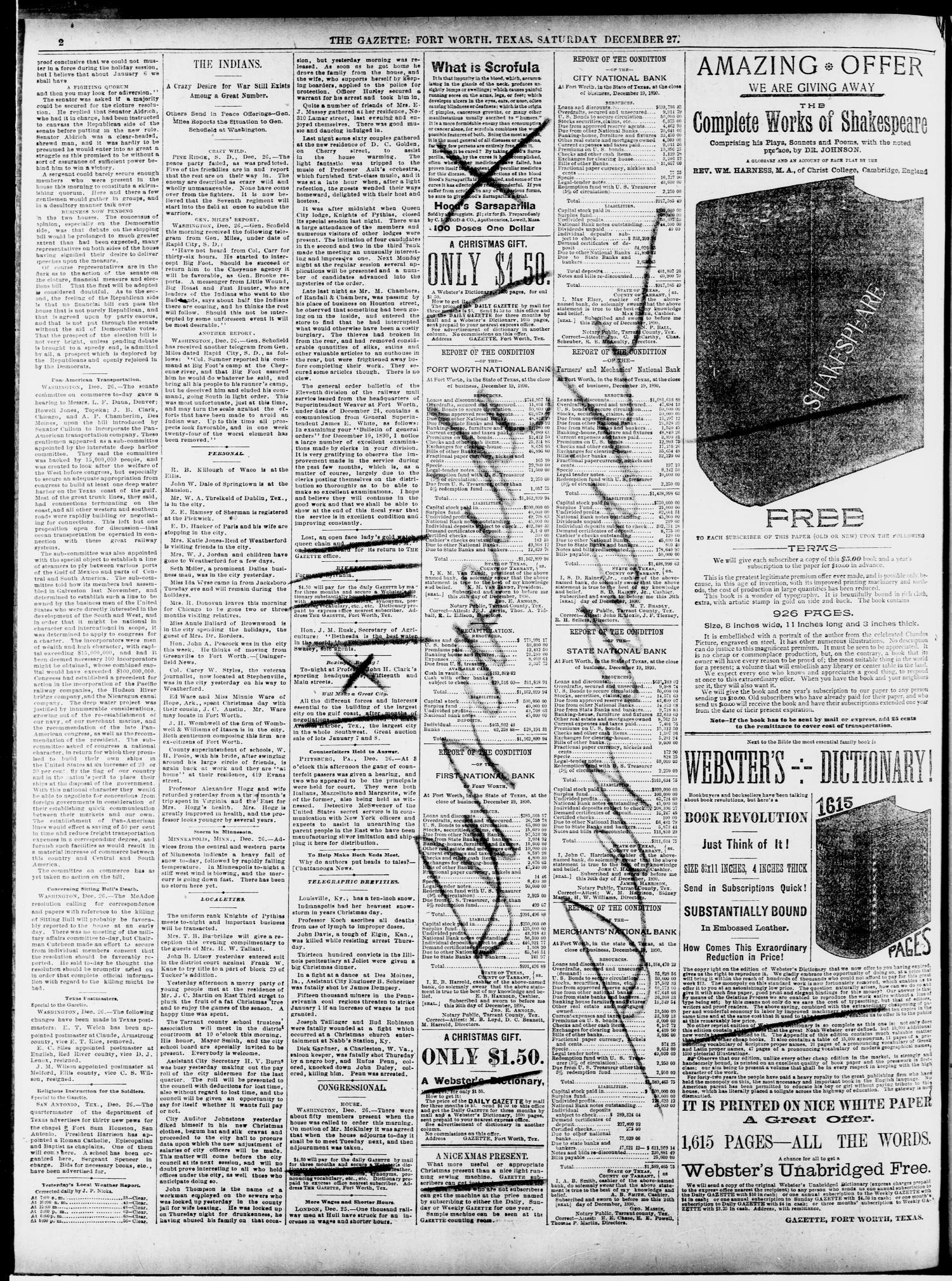 Fort Worth Daily Gazette. (Fort Worth, Tex.), Vol. 15, No. 73, Ed. 1, Saturday, December 27, 1890                                                                                                      [Sequence #]: 2 of 8