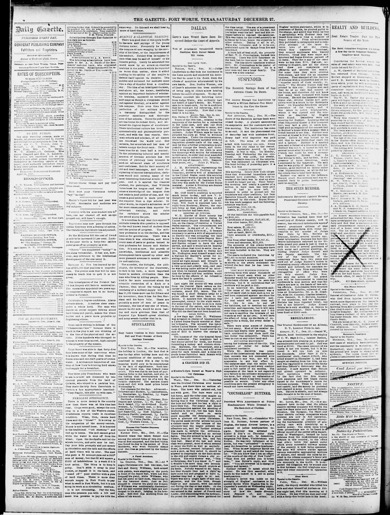 Fort Worth Daily Gazette. (Fort Worth, Tex.), Vol. 15, No. 73, Ed. 1, Saturday, December 27, 1890                                                                                                      [Sequence #]: 4 of 8