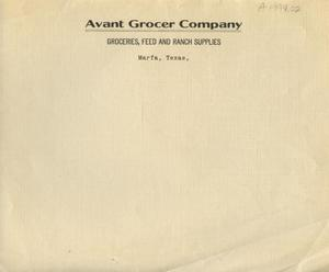 Primary view of object titled '[Avant Grocer Company Letterhead]'.