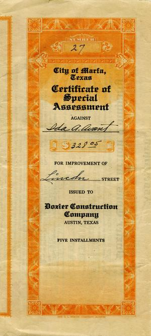 Primary view of object titled 'City of Marfa, Texas Certificate of Special Assessment'.
