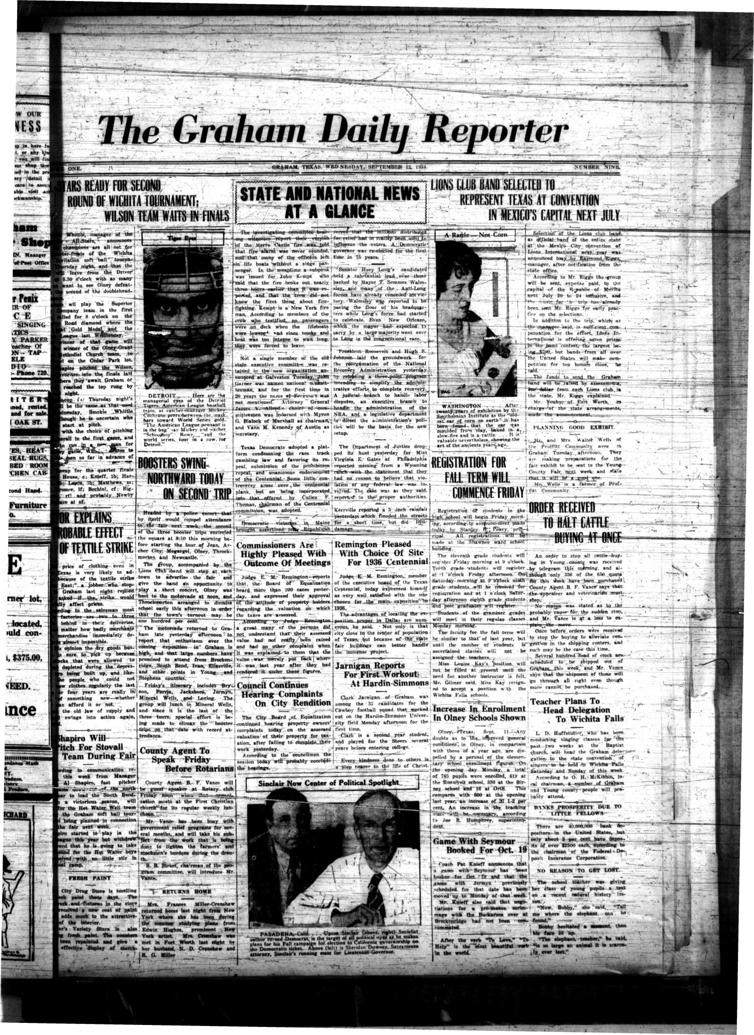 The Graham Daily Reporter (Graham, Tex.), Vol. 1, No. 9, Ed. 1 Wednesday, September 12, 1934                                                                                                      [Sequence #]: 1 of 4