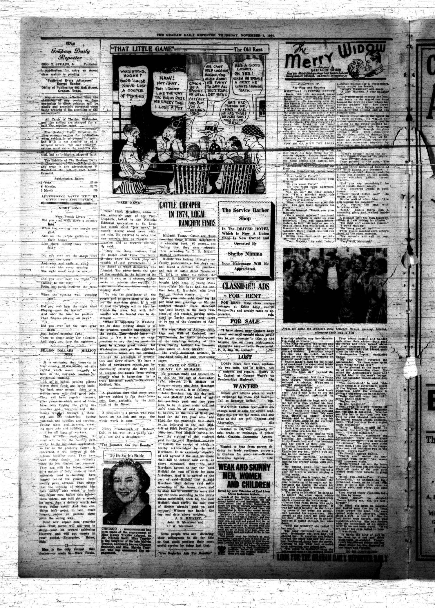 The Graham Daily Reporter (Graham, Tex.), Vol. 1, No. 58, Ed. 1 Thursday, November 8, 1934                                                                                                      [Sequence #]: 2 of 4