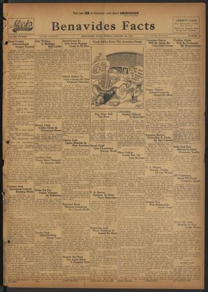 Primary view of object titled 'Benavides Facts (Benavides, Tex.), Vol. 15, No. 47, Ed. 1 Friday, January 24, 1941'.
