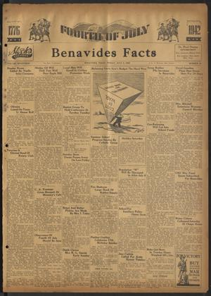 Primary view of object titled 'Benavides Facts (Benavides, Tex.), Vol. 17, No. 18, Ed. 1 Friday, July 3, 1942'.