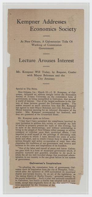 Primary view of object titled '[Pamphlet Describing Kempner Addresses Economics Society]'.