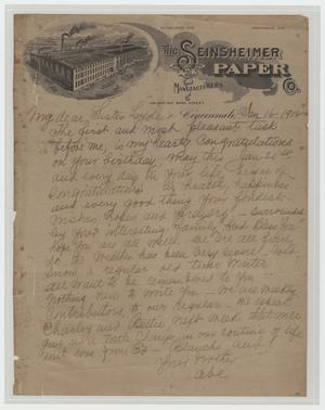 Primary view of object titled '[Letter from Abe to Loyde, January 16, 1912]'.