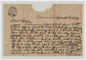 Primary view of object titled '[Letter from I. H. Kempner to Dan Kempner, November 30, 1893]'.
