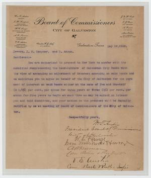 Primary view of object titled '[Letter from City of Galveston Board of Commisioners to I. H. Kempner and B. Adoue, May 12, 1902]'.