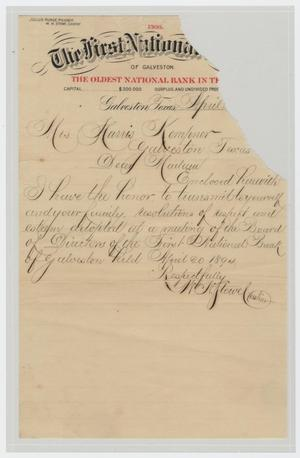 Primary view of object titled '[Letter from W. N. Towel to Mrs. Harris Kempner, April 20, 1894]'.