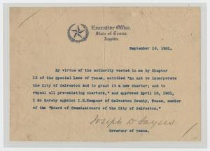 Primary view of object titled '[Appointment of I. H. Kempner to the Galveston Board of Commissioners]'.
