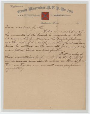 Primary view of object titled '[Resolution Regarding the Death of Harris Kempner]'.