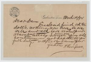 Primary view of object titled '[Letter from I. H. Kempner to Dan Kempner, March 10, 1894]'.