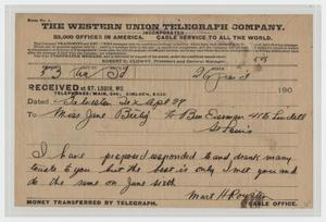 Primary view of object titled '[Telegram from Mart H. Royster to Miss Jane Bertig]'.