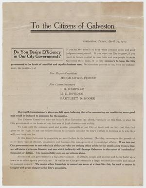 Primary view of object titled '[Pamphlet Describing Candidates for Galveston City Government]'.