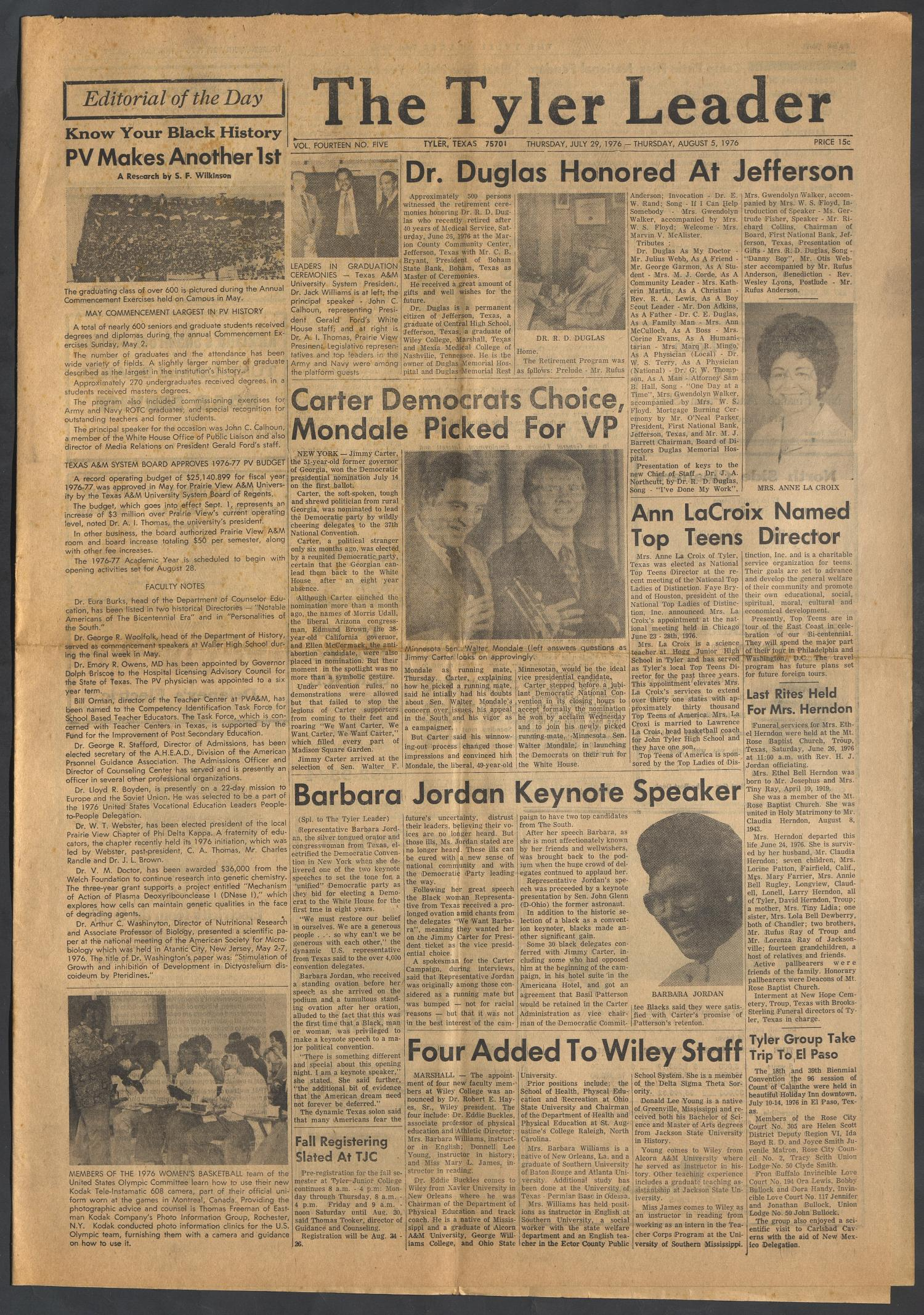 The Tyler Leader (Tyler, Tex.), Vol. 14, No. 5, Ed. 1 Thursday, July 29, 1976                                                                                                      [Sequence #]: 1 of 4
