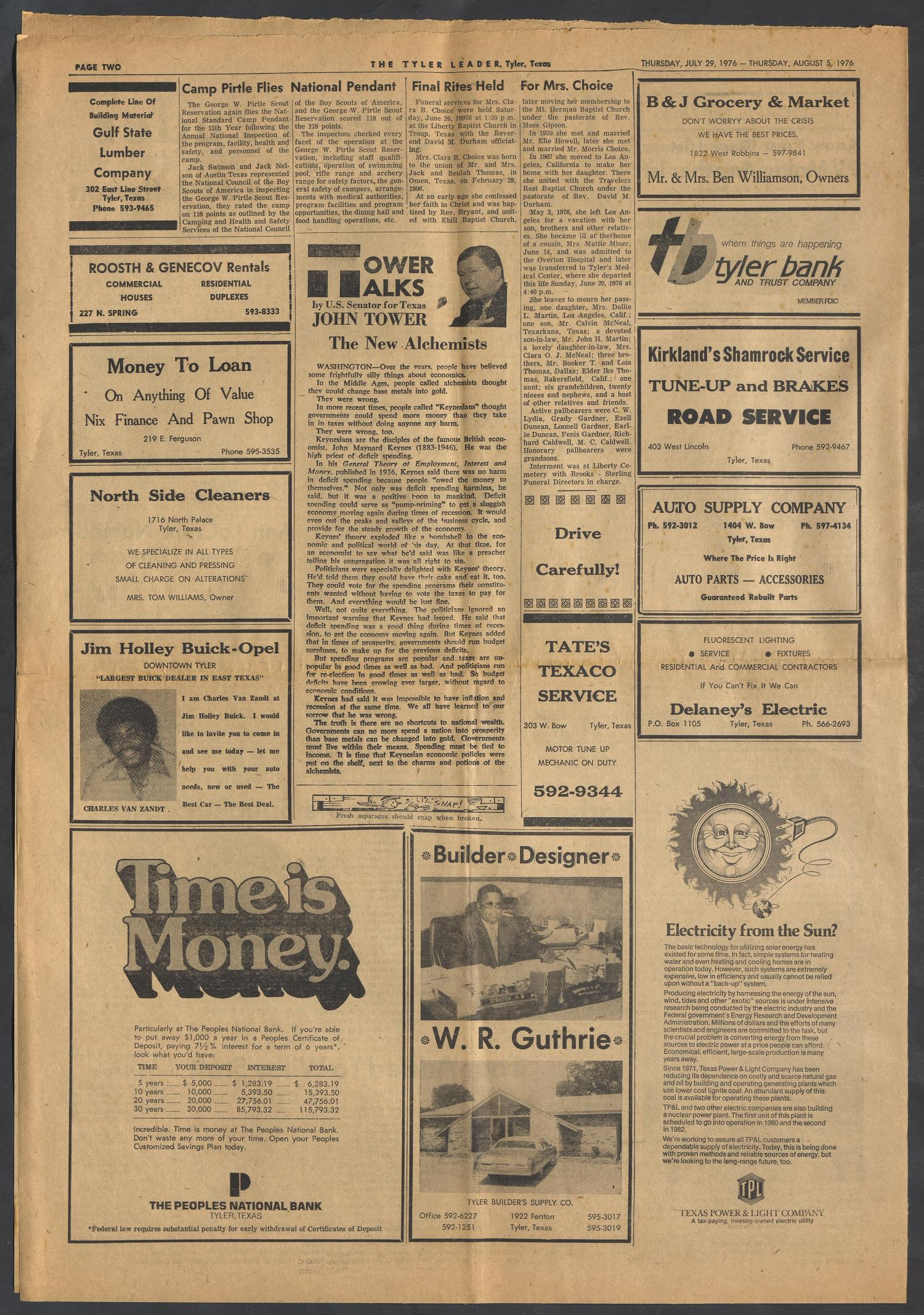 The Tyler Leader (Tyler, Tex.), Vol. 14, No. 5, Ed. 1 Thursday, July 29, 1976                                                                                                      [Sequence #]: 2 of 4