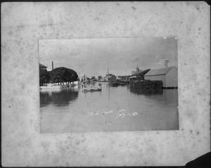 Primary view of object titled '[T.B.W. Lumber Yard during the flood of 1899]'.