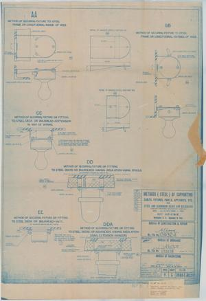 Primary view of object titled 'Methods (Steel) of Supporting Cables, Fixtures, Panels Appliances, Etc for Steel & Aluminum Dk.s & Bulkheads, 16 of 39'.
