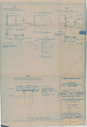Primary view of object titled 'Methods (Steel) of Supporting Cables, Fixtures, Panels Appliances, Etc for Steel & Aluminum Dk.s & Bulkheads, 17 of 39'.