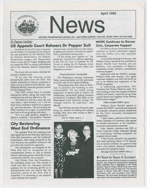 Primary view of object titled 'Historic Preservation League News, April 1994'.