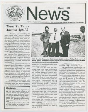 Primary view of object titled 'Historic Preservation League News, March 1992'.