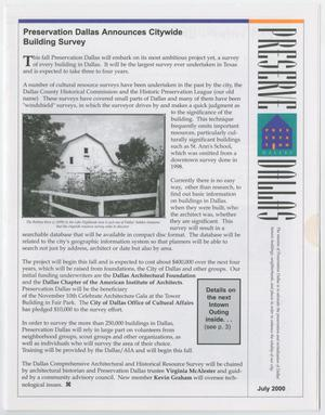 Primary view of object titled 'Preserve Dallas, July 2000'.