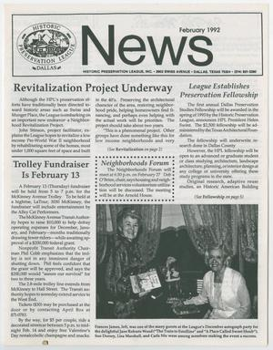 Primary view of object titled 'Historic Preservation League News, February 1992'.