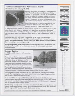 Preserve Dallas, January 2002