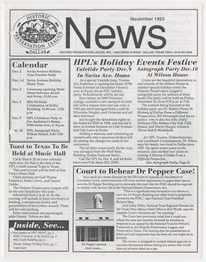 Primary view of object titled 'Historic Preservation League News, November 1993'.