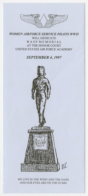 Primary view of object titled '[Flyer: WASP Memorial Dedication]'.
