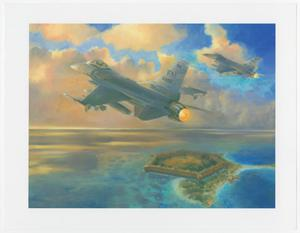 Primary view of object titled '[Art of Fighter Jet Flying Over an Island]'.