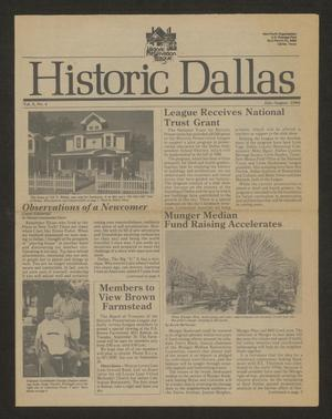 Primary view of object titled 'Historic Dallas, Volume 10, Number 4, July-August 1986'.