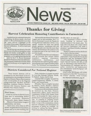 Historic Preservation League News, November 1991