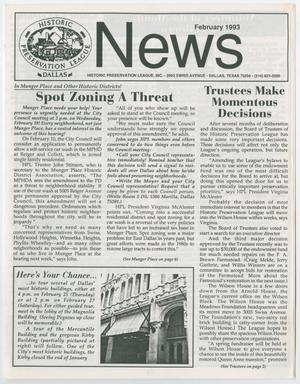 Historic Preservation League News, February 1993