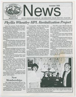 Historic Preservation League News, October 1992